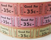 """50 Vintage Tickets - Pick Your Combo - Pink, Purple, and/or Green """"Good For 35c"""" Carnival Raffle Tickets - Small Paper Ephemera"""