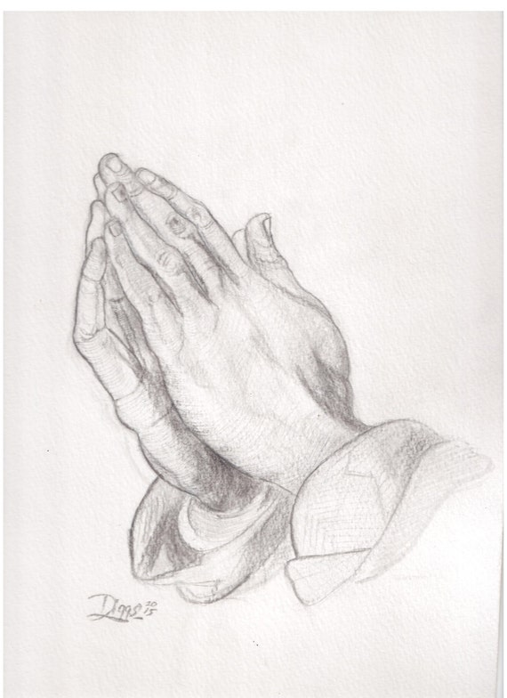 Praying Hands pencil drawing by PreacherBen on Etsy