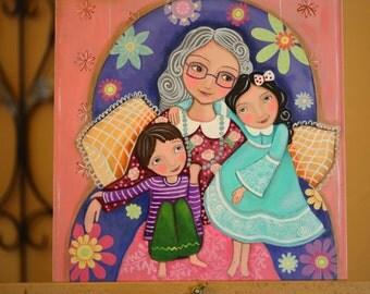 "Original Mixed Media painting On canvas-wood panel 12x12 inch (30.5X 30.5 cm) ""Grandma we love you"", Evona"