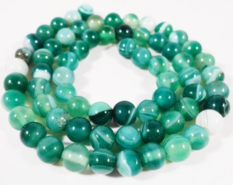 Agate Gemstone Beads 6mm Round Smooth Green Striped Agate Stone Beads for Jewelry Making on a Full 15 Inch Strand with 62 Beads