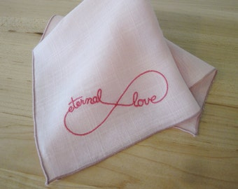 Vintage Pink Linen Wedding Handkerchief Newly Embroidered With Eternal Love Infinity Symbol, Bridal Handkerchief