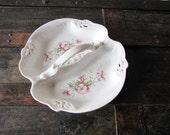 Lovely Floral Divided Porcelain Dish Cottage Spring Summer Flowers