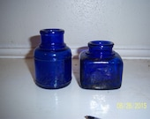 NY - 1910's Pair of Cobalt Blue  Ink Bottles  2 1/2-2 7/8 inches tall Round and Square C