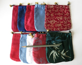 Satin draw string gift pouches 10 pcs