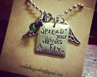 spread your wings and fly necklace;  graduation necklace