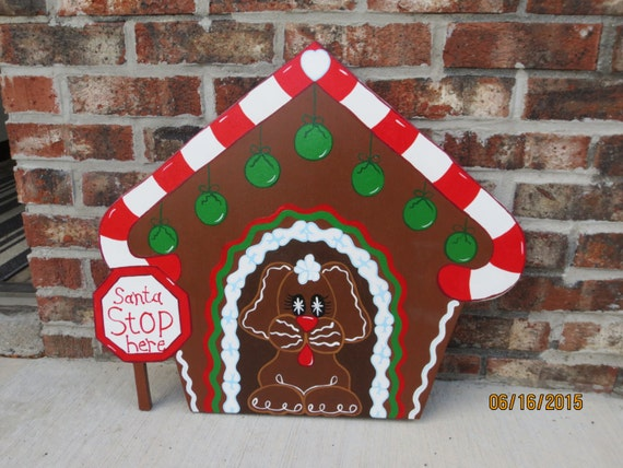 Christmas gingerbread dog house outdoor wood by for Gingerbread house outdoor decorations
