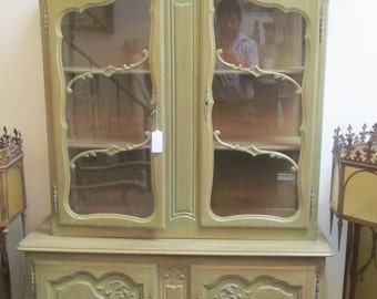 Vintage Antique Beautiful Green Wood & Glass China Cabinet,Authentic Antique Cabinet, China Cabinet,Contemporary Asian Cabinet.