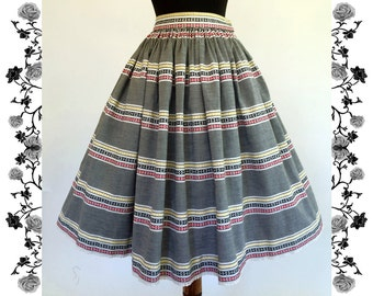 1950's Vintage Woven Cotton Full Skirt