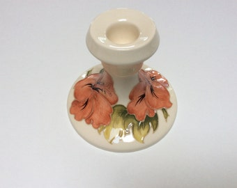 Vintage Moorcroft Candlestick, Moorcroft Hibiscus Pattern, Lovely Cream Orange and Green, Mint Condition