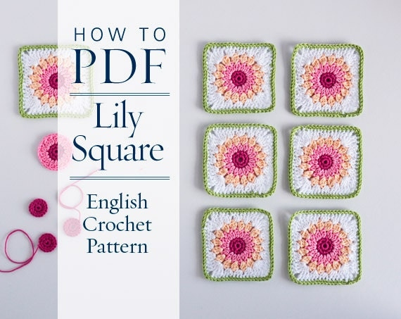 Crochet Patterns English : Crochet Pattern Lily square ENGLISH crochet PDF by CrochetObjet