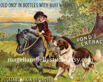 Child On Pony With Dog  Instant Digital Download  1800's Pond's Extract  Victorian Trade Card Desktop Wallpaper