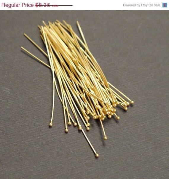 Super SALE Vermeil Headpins, Ball End Gold Headpins 27guage 50mm---30 pieces