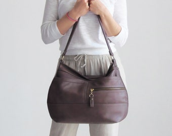 Hobo bag purse - Soft leather bag - Leather cross body bag - SOLIN