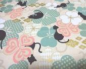 Japanese Fabric QUILT GATE Clover Black cat  Beige Fat Quarter