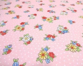 Japanese Fabric Pretty Little Girl Puchi Flower Pink  Fat Quarter