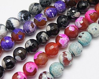 Fire Agate Gemstone Beads BULK Beads Wholesale Beads Faceted Assorted Colors 8mm 10 Strands 460 pieces PREORDER