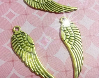 Angel Wing Charms Pendants Double Sided Antiqued Gold 30mm 50 pieces Bulk Charms Wholesale