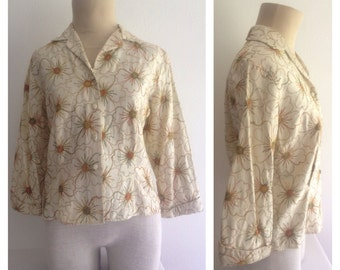 1960s Vintage Women's Raw Silk Jacket Size M/L