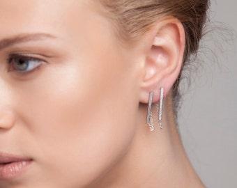 Bar chain earrings - silver