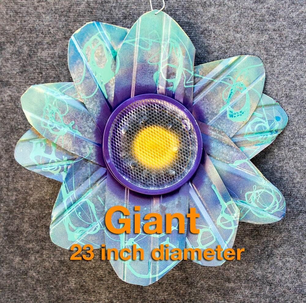 Giant metal flower yard art indoor outdoor wall art teal for Outdoor wall flowers