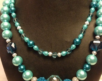 Handmade Blue Jeweled Necklace