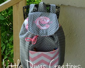 Handmade Personalized Mini Backpack (Grey polka dot with pink chevron accents)