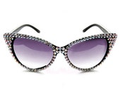 Silver & Black Bling Cat Eye Sunglasses - Sparkly Festival Sunglasses - Rhinestone Embellished Pin Up Sunnies - Retro Cats Eye Sunglasses