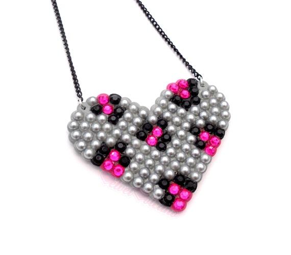 Sparkly Custom Coloured Leopard Love Heart Necklace - Cheetah Animal Print Wildheart Pendant - Statement Rockabilly Psychobilly Jewellery