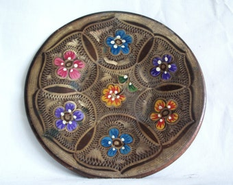 Wall hanging plate vintage copper, hand painted, etched, cheerful & colorful, home decor, flowers, floral, metal, folk art, Anatolian crafts
