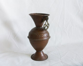 Earthy little urn vintage COPPER vase. Patina. Pedestal. Slender, hand wrought, metal. Shelf, buffet, home decor. Old World Handicraft, gift