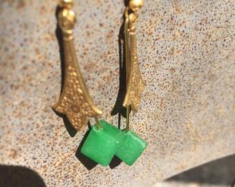 Jade & Brass drop earrings