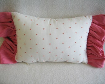 Adorable Vintage Style White Cotton with Hot Pink Dot Throw Pillow with matching Hot Pink Ruffle 10 x 6 NEW!