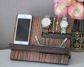 Oak Wood Valet iPhone Galaxy Charging Stand Nightstand Dock Graduation Father's Day Birthday For Him