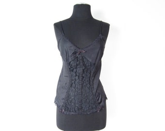 1980s black camisole with sheer lace panel, lace trim, and bow details - vegan