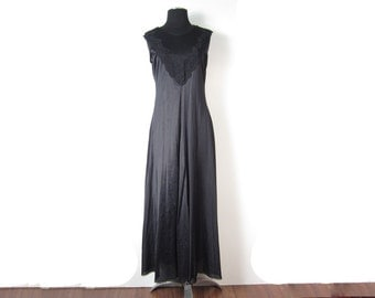 1980s black nylon night gown with sheer plunging v neck (front and back) with full skirt and lace trim - small