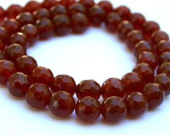Beautiful 8 mm Red Agate Faceted Beads