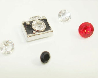 Crystal Front Camera 7MM floating charm with 4 glass crystal charms / Memory locket charms// by Color Kissed Silk LLC