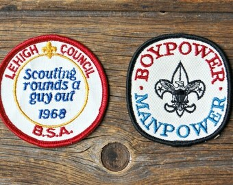 Pair of Large Vintage Boy Power Boy Scout Patches