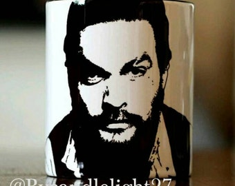 Jason Momoa, Aquaman, Game of thrones, Stargate Atlantis, Conan the Barbarian, Hand Printed cup.