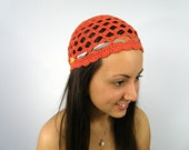 Hat for women - Crochet beanie - Crochet hat - Rust Retro Gatsby hat - girly accessories by ZAPrix