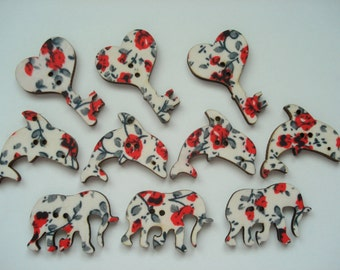 Mixed Shape Wood Buttons Pack of 10 Red Grey Fabric Buttons W3079k Scrapbook Button