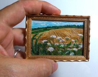 Miniature 1:12 Scale Handmade Original Oil Painting for Collectors / Dollhouse Artwork / Fridge Magnet / Fine Art / Queen Anne's Lace