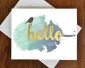Hello Watercolor Notecards-Modern Notecard Set-Set of 8-As Seen in Better Homes and Gardens