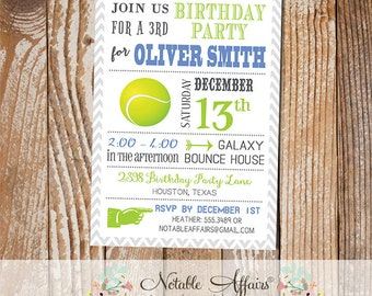 Dull Blue and Chartreuse Chevron Modern Tennis Birthday Party Invitation - choose your colors - Tennis Grand Slam Party - no custom wording
