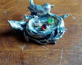 Anson Sterling Bird Nest Pin, Brooch