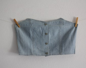 Vintage Denim Corset Jeans Washed Blue Corset Sleeveless Crop Top 80's Clothing Womens Fashion