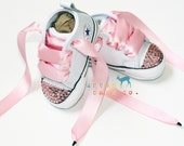 Infant, Toddler Crib Baby Girl White Converse® All Star® Chuck Taylor's® With Pink Ribbon Laces & Swarovski® Pink Rhinestones