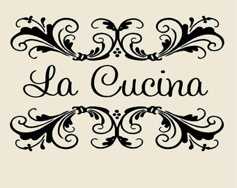 la cucina with scrolls kitchen custom vinyl wall decal 23h x
