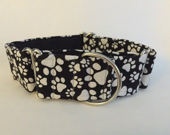 "1.5"" Large White Paws on Black Martingale Collar"