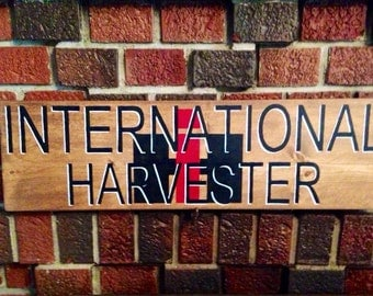 International Harvester, IH, hand painted wood sign, Man Cave Sign, Father's Day, 7 x 24